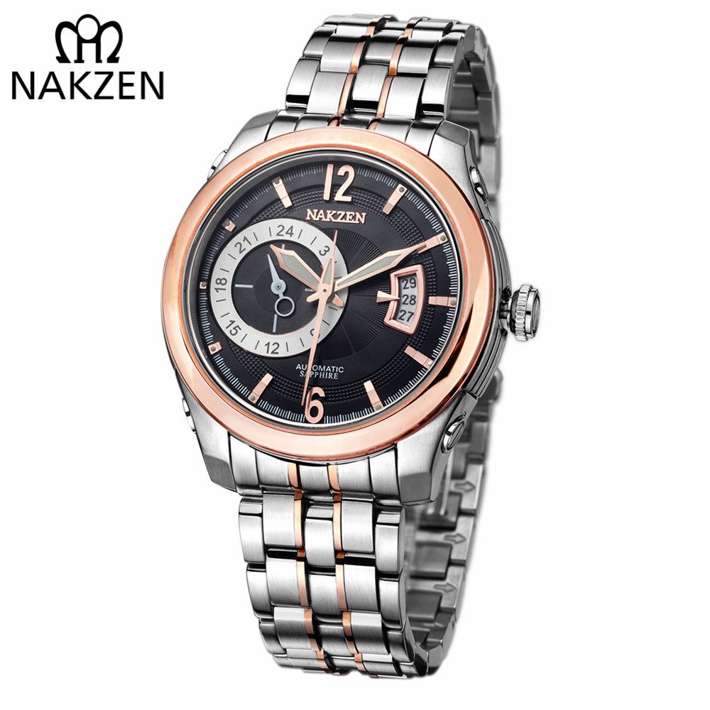 NAKZEN Men Automatic Miyota 8217 Mechanical Watches Man Brand Luxury Sapphire Waterproof Stainless Steel Clock Relogio