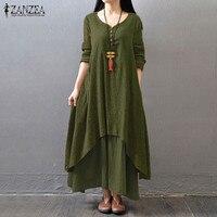 ZANZEA Women Buttons V Neck Double Layers Long Maxi Dress Vintage Female Asymmetrical Hem Tunic Baggy
