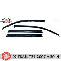 Deflector janela para Nissan X Trail T31 2007 2014 chuva defletor sujeira proteção styling acessórios de decoração do carro de moldagem|Estilo de cromo| |  -