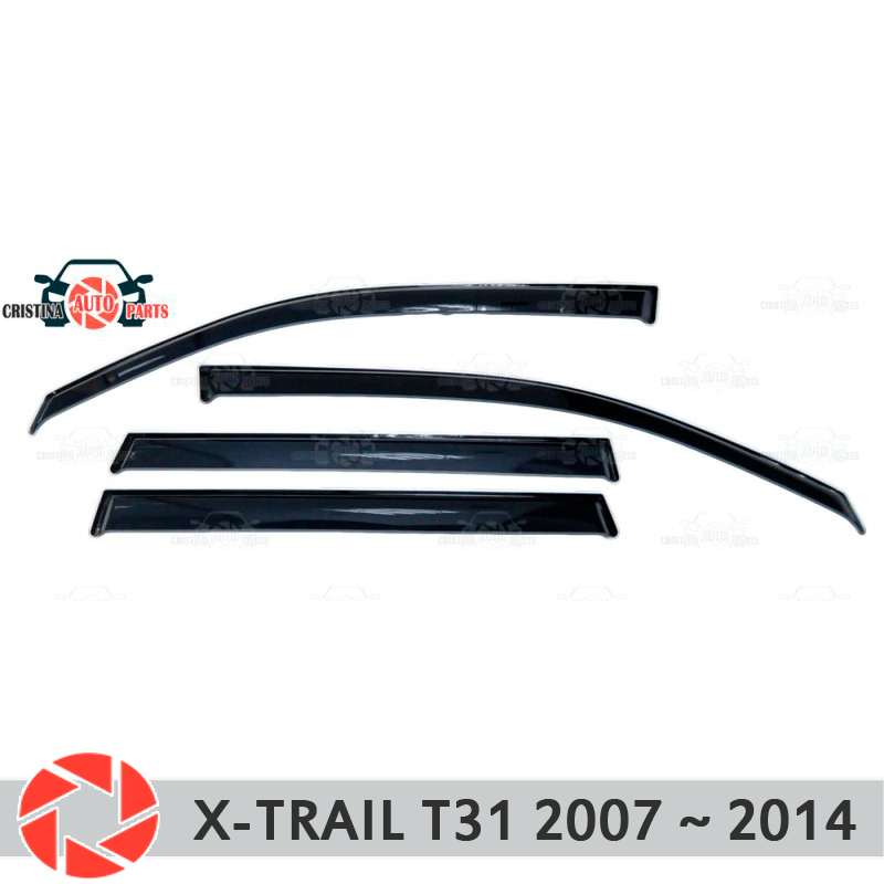 Window deflector for Nissan X-Trail T31 2007-2014 rain deflector dirt protection car styling decoration accessories molding 2pcs for car styling fog lights nissan x trail t31 closed off road vehicle 2007 2014 halogen lamps 26150 8990b