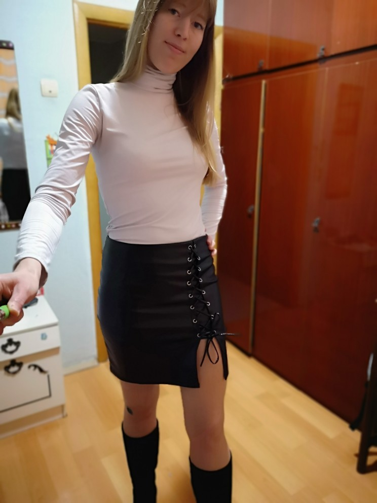 CWLSP Black Lace Up PU Leather Skirts 2019 Spring Summer Womens Side Split Pencil Skirts Vintage  Bodycon Mini Skirt QZ1820