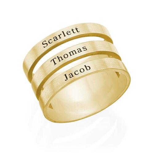 Personnalisé trois nom anneau or argent rose or plaqué famille anneau maman cadeau femmes anneau hommes anneau de noël cadeau d'anniversaire 925