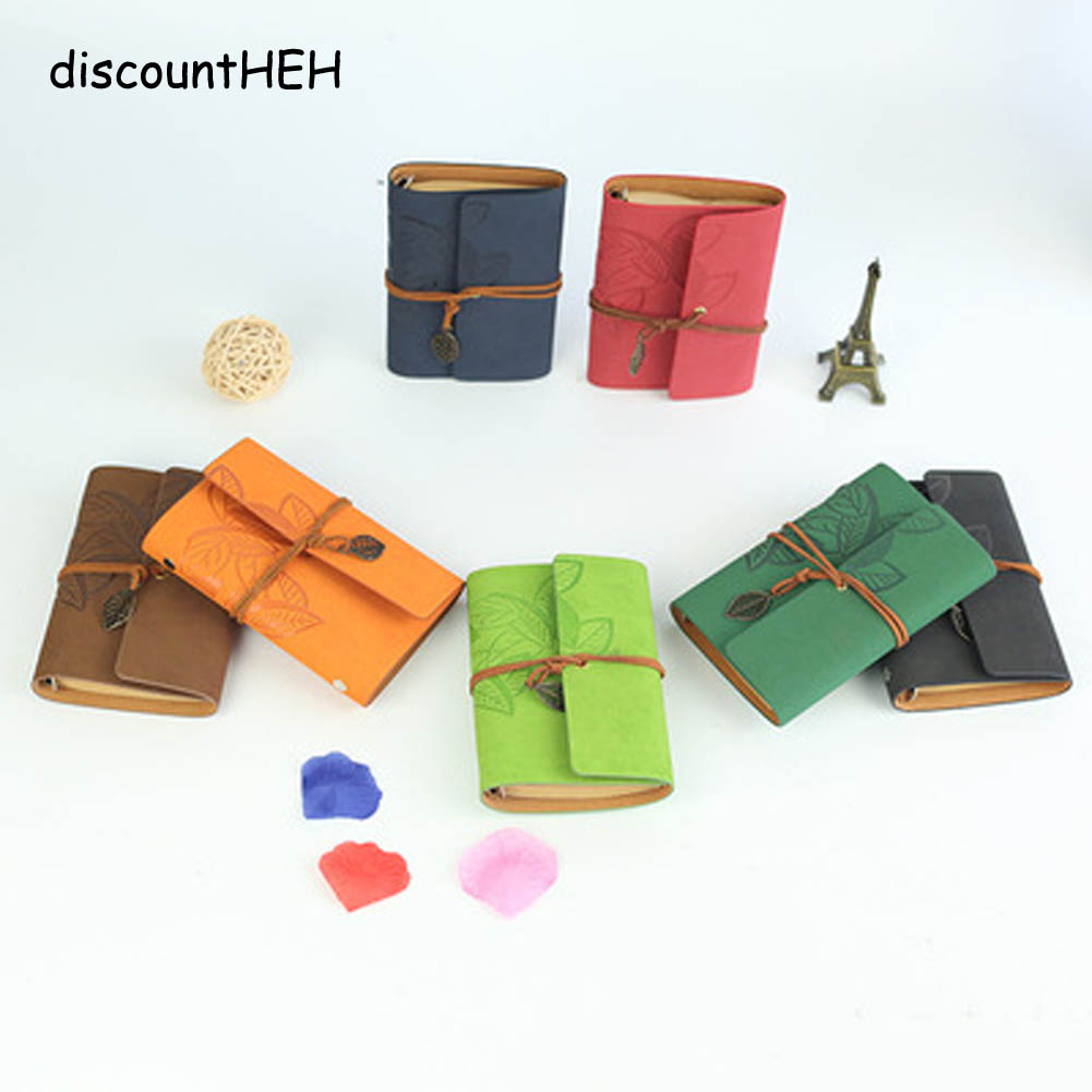 A7 Vintage Leaf Faux Leather Pirate Cover Travel Journal 8 Colors Notebook Stationery Gifts Writing Pockets Book 1 Pc