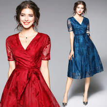 New high-end fashion designer lace dress summer embroidered sleeves retro women's mesh see-through lace dress see through longline lace dress