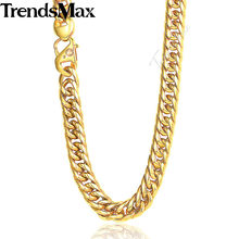 Trendsmax Necklace Mens Hiphop 316L Stainless Steel Gold Color Curb Chain Dropship Wholesale Jewelry 12mm HN76(Hong Kong,China)
