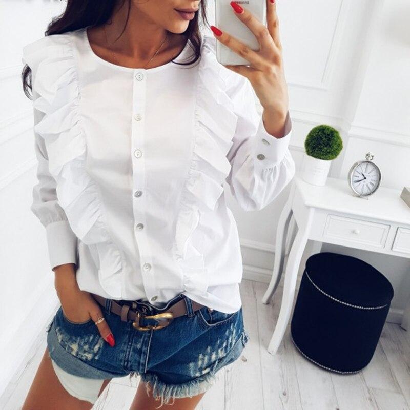 Симин 2018 Весна Новая мода o-образным вырезом оборками с длинным рукавом элегантные топы в полоску Кнопка блузка повседневные рубашки