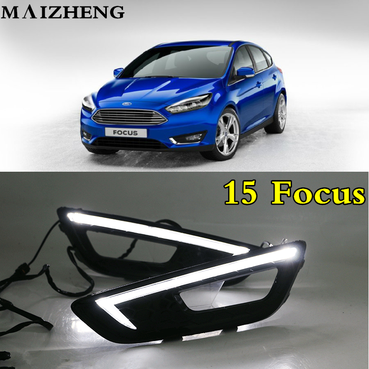 Turn signal and dimming style Relay 12V LED Car DRL daytime running lights with fog lamp hole for Ford Focus 4 2015 2016 2017 turn off and dimming style relay led car drl daytime running lights for ford kuga 2012 2013 2014 2015 with fog lamp
