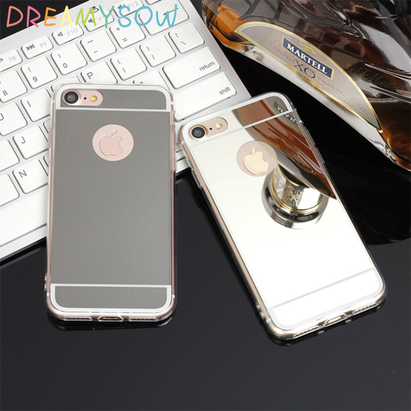 DREAMYSOW Luxury New Fashion Soft TPU Back Cover Mirror Case For iPhone 5 5s 4 4S SE 6 6S 7 plus Shell Bling Back cover case