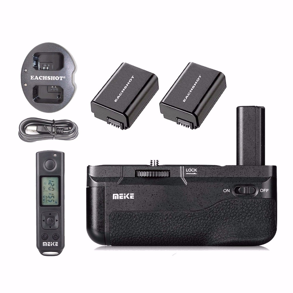 Meike MK-A6500 Pro Battery Grip + 2PCS FW50 Battery + dual Charger Built-in 2.4Ghz with Rremote For Sony A6500 meike mk 760d pro built in 2 4g wireless control battery grip suit for canon 750d 760d as bg e18