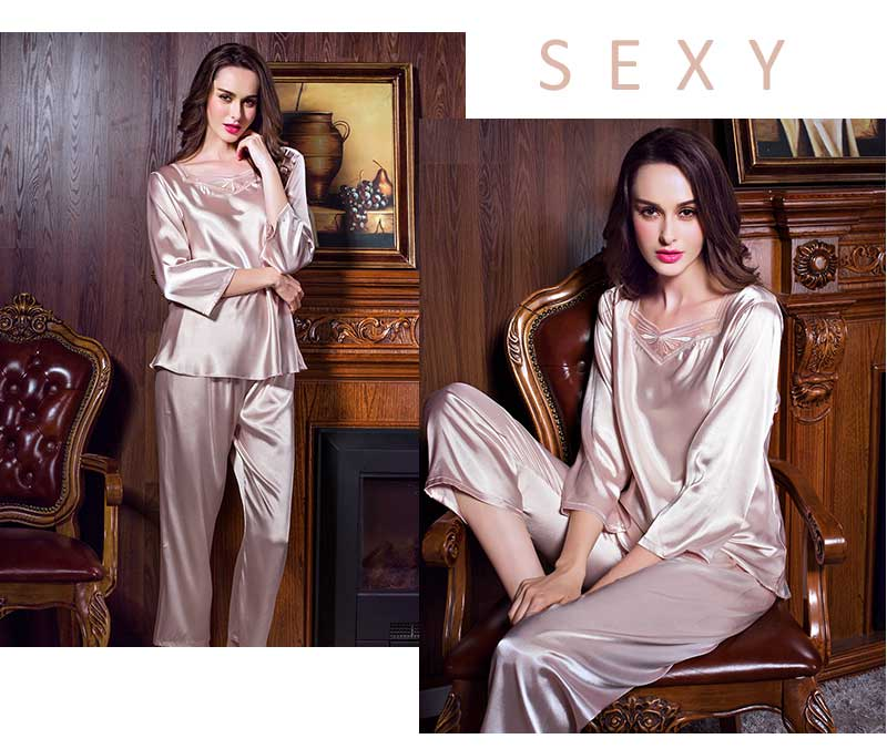 a89765ea77 Caiyier 2018 Silk Pajamas For Women Pink Nightwear Spring Solid Sleepwear  Women Satin Pajamas Sets Long Sleeve LSB7130