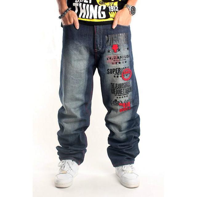 6383a8d298a5 Hot Sales 2018 Mens Original Design Full Length Baggy Jeans Man's Denim Hip  Hop Skateboard Embroidery Jeans High Street Pants