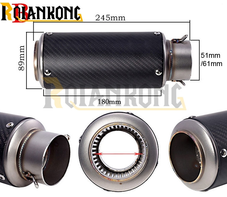 laser mark motorcycle modified muffler carbon fiber exhaust pipe for SUZUKI DR DRZ RMX DJEBEL 125L 200S 200SE 250R 250S 250XC