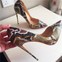 Free shipping fashion women Pumps Tan snake printed sexy lady Pointy toe high heels shoes size33 43 12cm 10cm 8cm party shoes