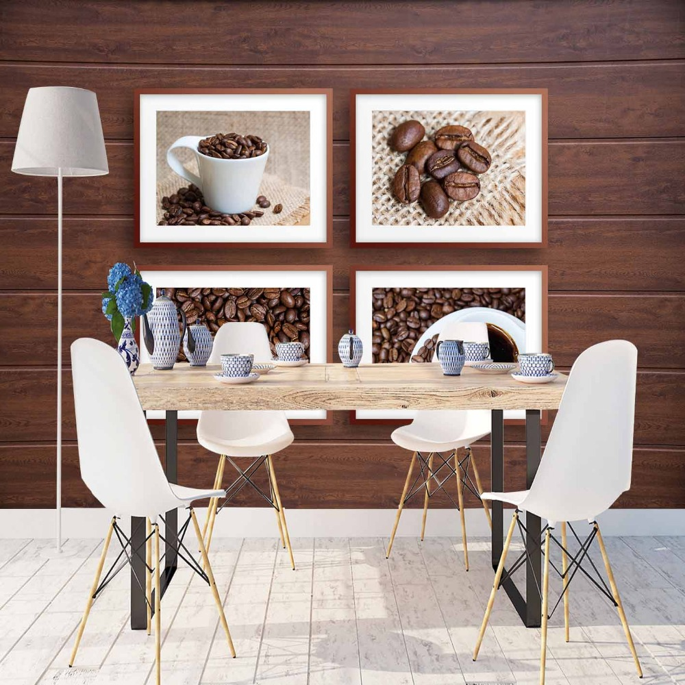 Else Brown Wood Coffee Beans Cafe Cup Frames 3d Print Photo Cleanable Fabric Mural Home Decor Kitchen Background Wallpaper