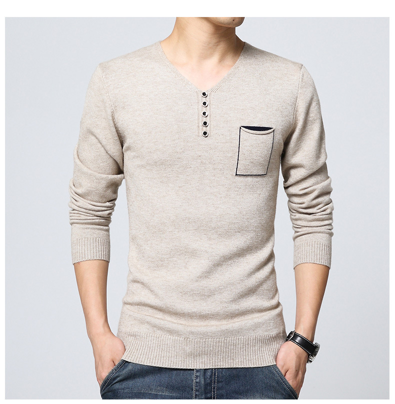 The Spring And Autumn New Men's Sweater Collar Sweater V Elastic Long Sleeved Sweater Hedging Male