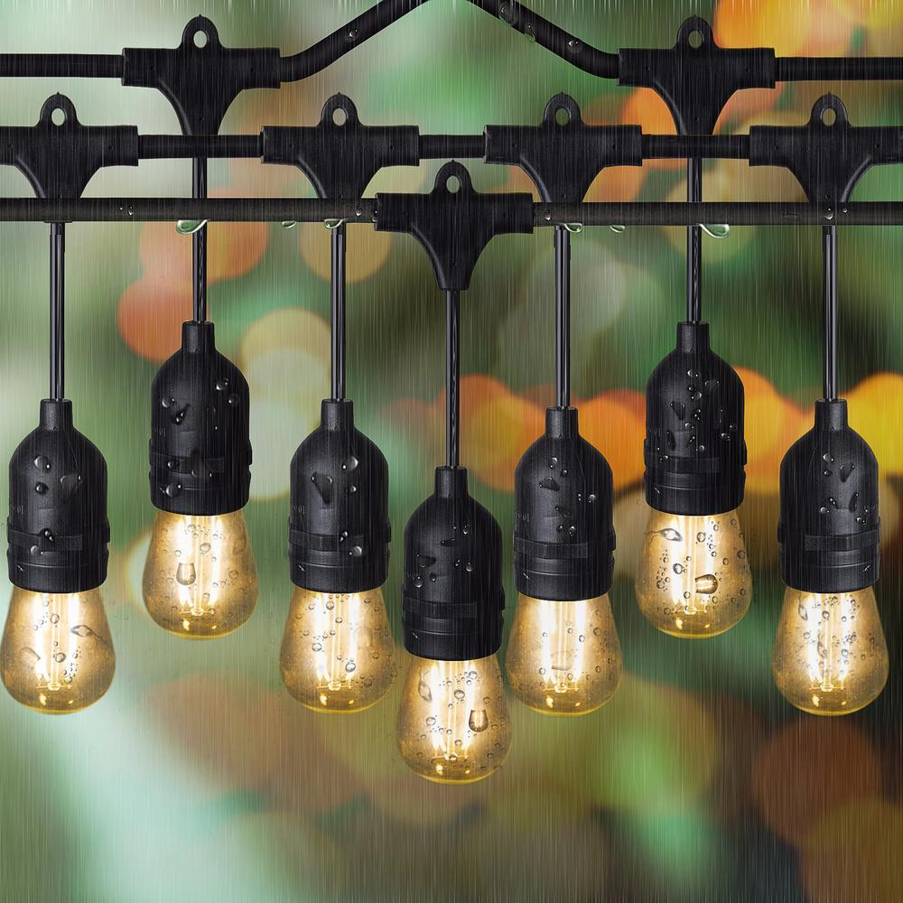 Sokani  LED edison outdoor hangling string lights for party 48 Ft Long with 15 Sockets and Bulbs + 3 Replacement Bulbs Lights 24 feet outdoor string lights weatherproof commercial grade outdoor lights with 12 hanging sockets and 18 edison bulb 11w