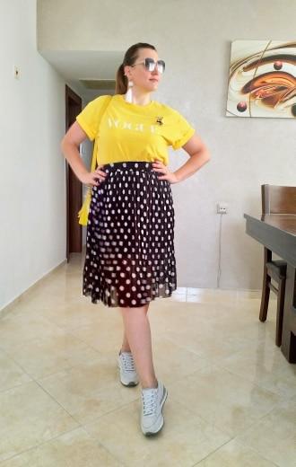 Summer Spring Women Chiffon Polka Dot Skirt Female Black Dots Elastic Waist Pleated Skirt Beach A Line Plus Size L6 photo review