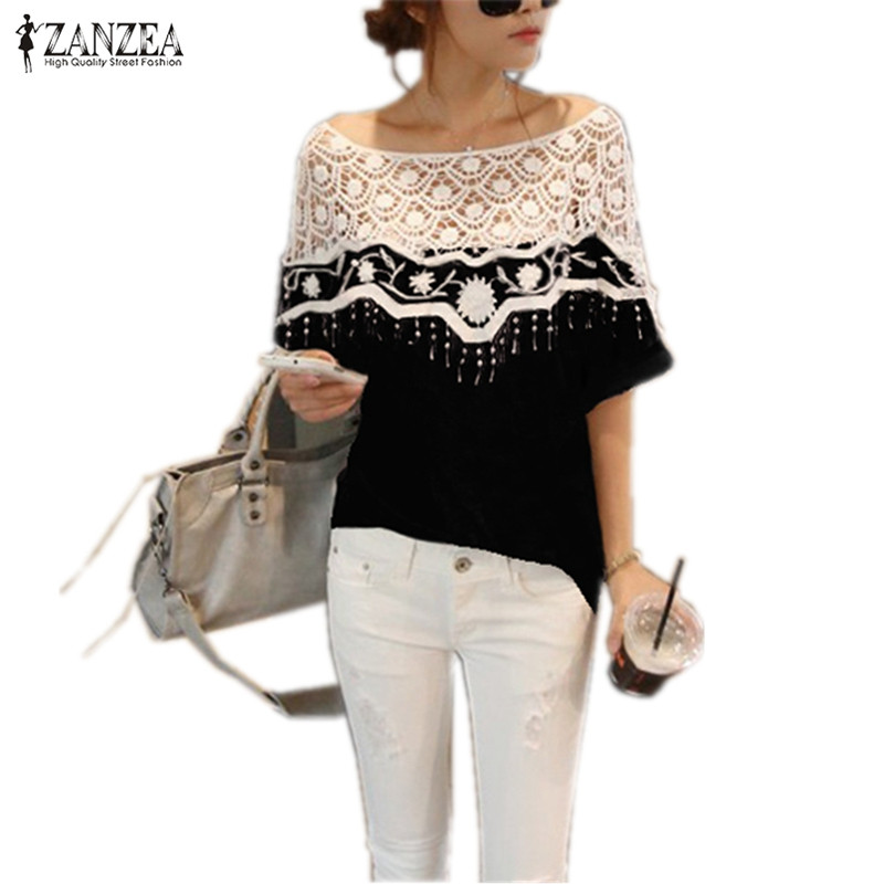 ZANZEA 2018 Summer Women Tops Fashion Hollow Out Lace Crochet Shirts Cape Batwing Sleeve Blouse Blusas Femininas Plus Size S-5XL