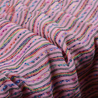 2018 New fashion spring rainbow striped weaving fabric for suit trench coat pants pink fabrc telas tecidos stoffen tissu SP5510