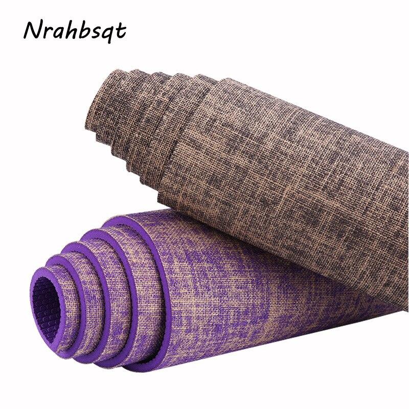 NRAHBSQT Premium Linen Yoga Mat PVC Non Slip Green Sport Fitness Mat 5mm Tasteless Body Building