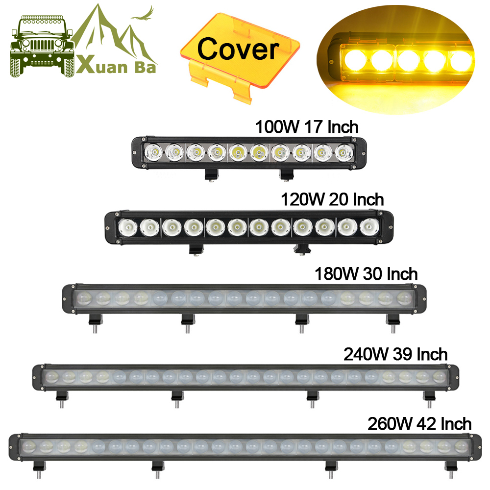 Single Row Amber Led Light Bar Spot Flood Combo Beam For 4x4 Offroad Uaz ATV SUV Tractor Truck Boat 12V 24V Driving Barr Lights