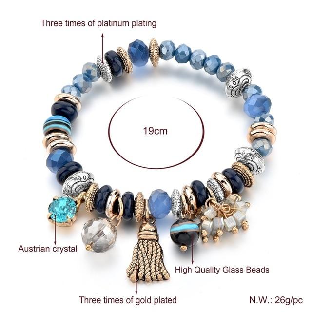 Фото chicvie золотые кисточки и синие цветы браслеты для женщин браслет цена