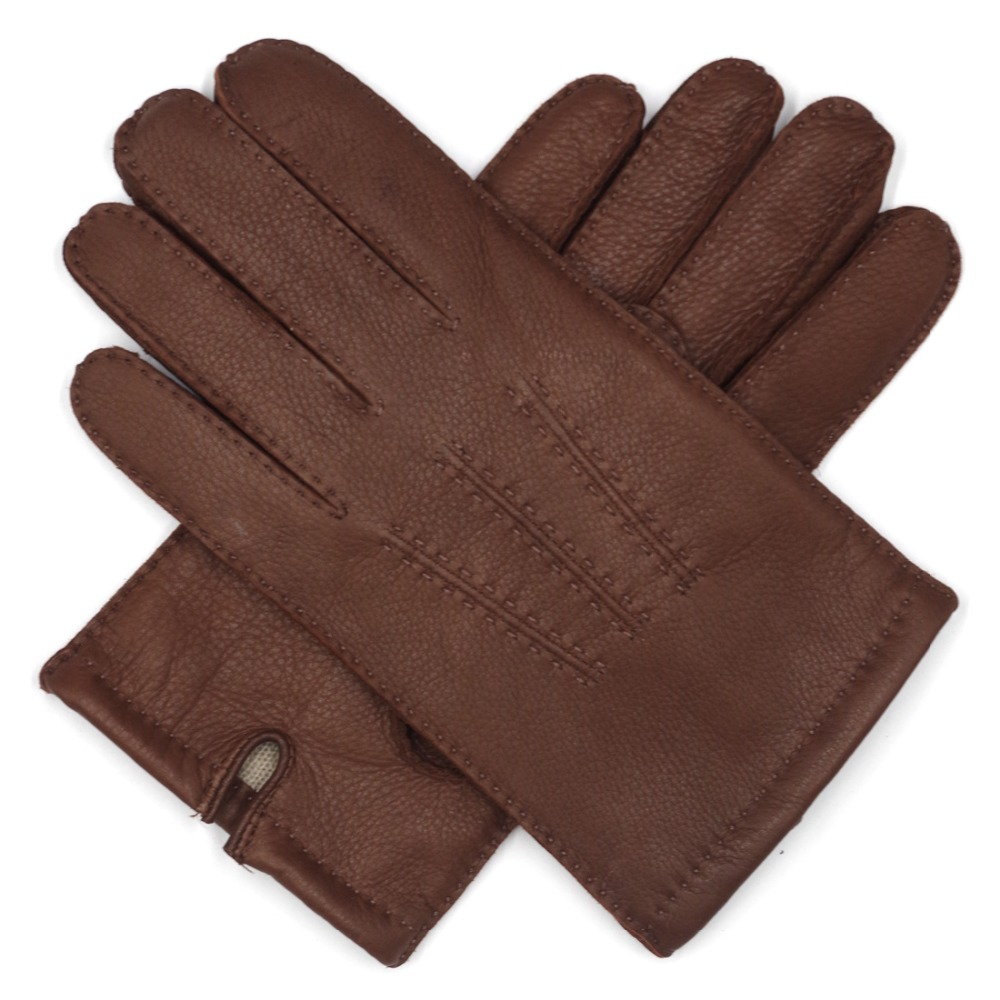 Harssidanzar Mens  Canada Deerskin Leather Gloves Finished Cashmere Lined Warm Winter Gloves