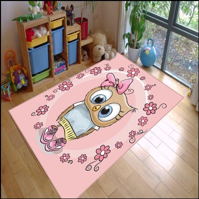 Else Pink Sweet Cute Owl Animal Baby Girls 3d Print Non Slip Microfiber Children Kids Room Decorative Area Rug Kids  Mat