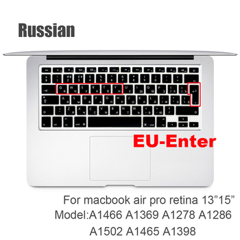 Russian EU&US-Enter  Keyboard Cover Protector for Macbook Pro 13inch 15inch Retina model A1502 A1398 Keyboard protective film цена 2017
