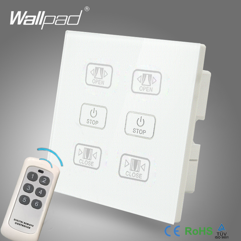 Hot Sales Double Remote Curtain Switch Wallpad White Glass 6 Gangs 2 Curtain Window Blind Wireless