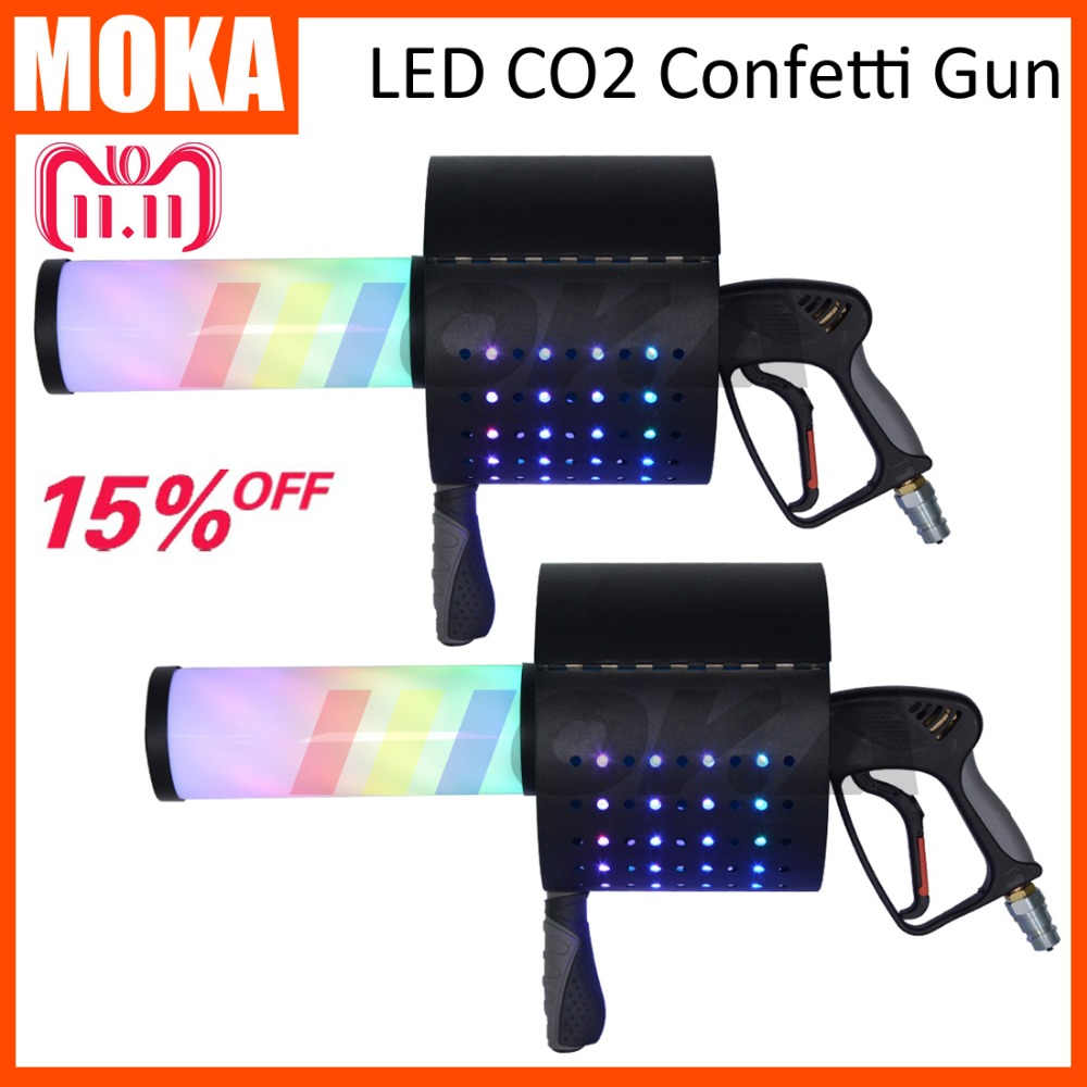 2 pcs/lot LED CO2 Confetti gun LED CO2 Jet Machine co2 gun cryo fx special effect co2 blaster stage confetti machine