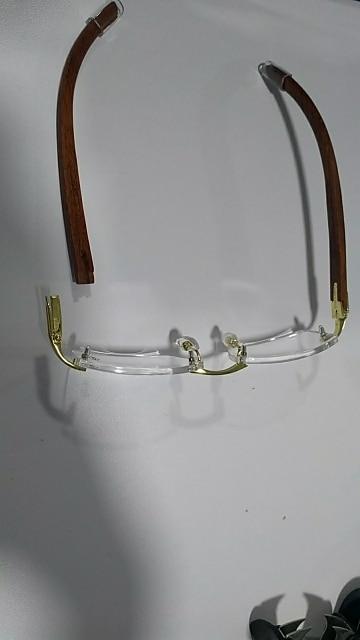 769a6dfda0 Vazrobe Wood Gold Glasses Frame Men Rimless Wooden Rim Eyeglasses ...