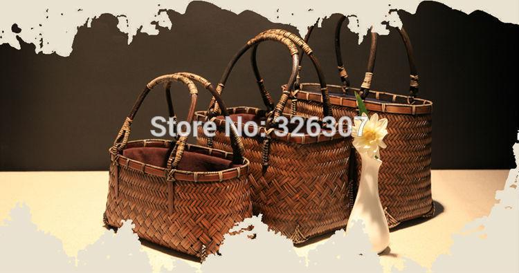 Japanese art RETRO bamboo bag handmade woven bag tea bag beam port bag basket tea accessories storage for tea set