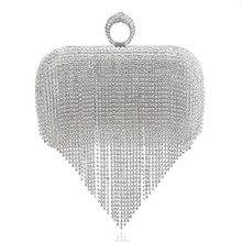 hot deal buy luxury brand women diamonds tassels ring bags female rhinestone beaded clutch chain messenger purse evening bags for wedding bag