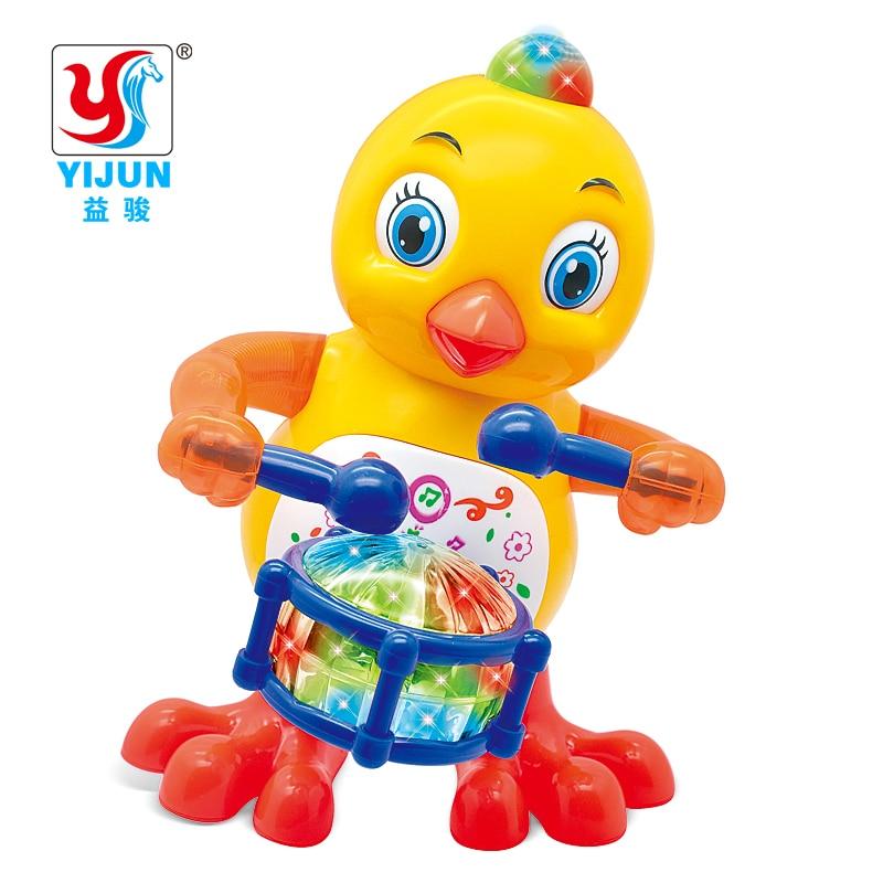 Lovely Chicken Electric Smart Space Walking Dancing Robot For Children Kids Music Light Model Safe Toys Pets Gift