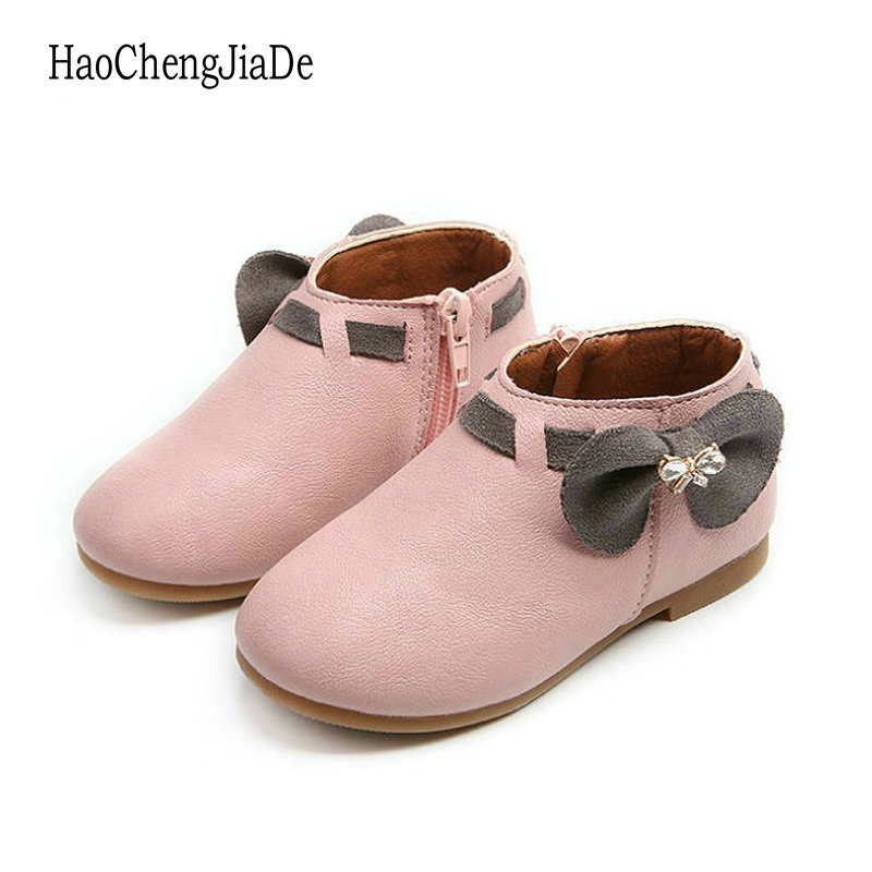 Fashion Children Shoes Princess Girls Boots Non-Slip Rabbit Baby Shoes PU Leather Flat Toddler Shoes Outdoor Kids Casual Shoes