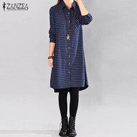 ZANZEA Women Casual Long Sleeve Classic Striped Autumn Buttons Down Fashion Lapel Neck Loose Long Top