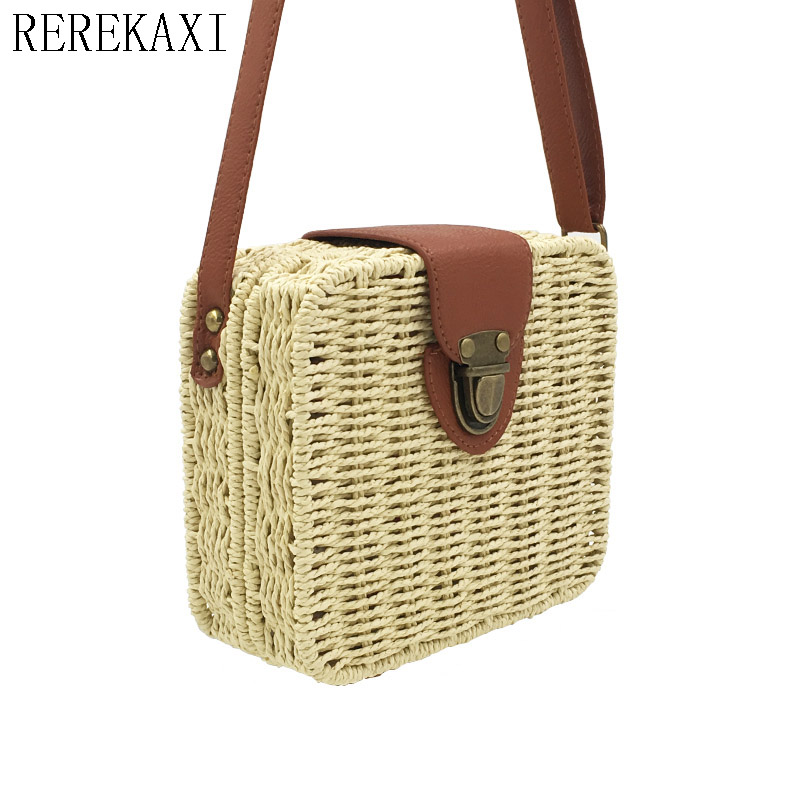 REREKAXI Candy color straw bag  ladies small shoulder bags beach bag crossbody bags for women beach straw bags women appliques beach bag snakeskin handbags summer 2017 vintage python pattern crossbody bag