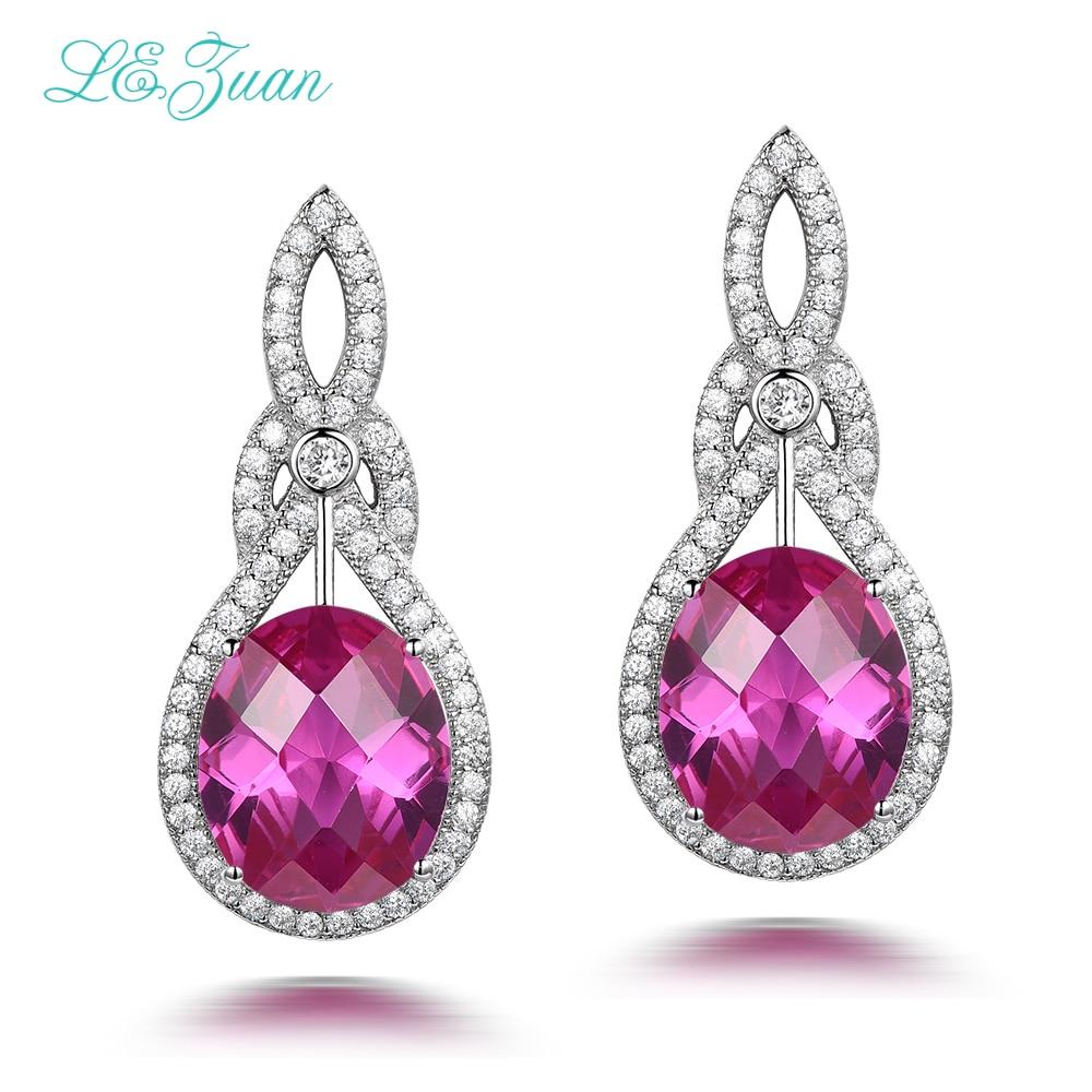 925 Sterling Silver Pink Stone Dangle Earrings