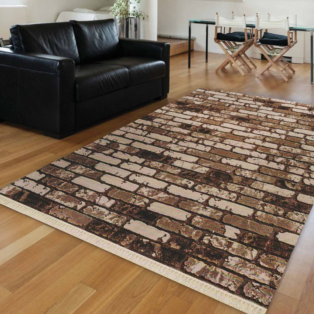 Else Brown Cream Vintage Stone Brick Wall Road Aging 3d Print Anti Slip Kilim Washable Decorative Area Rug Bohemian Carpet