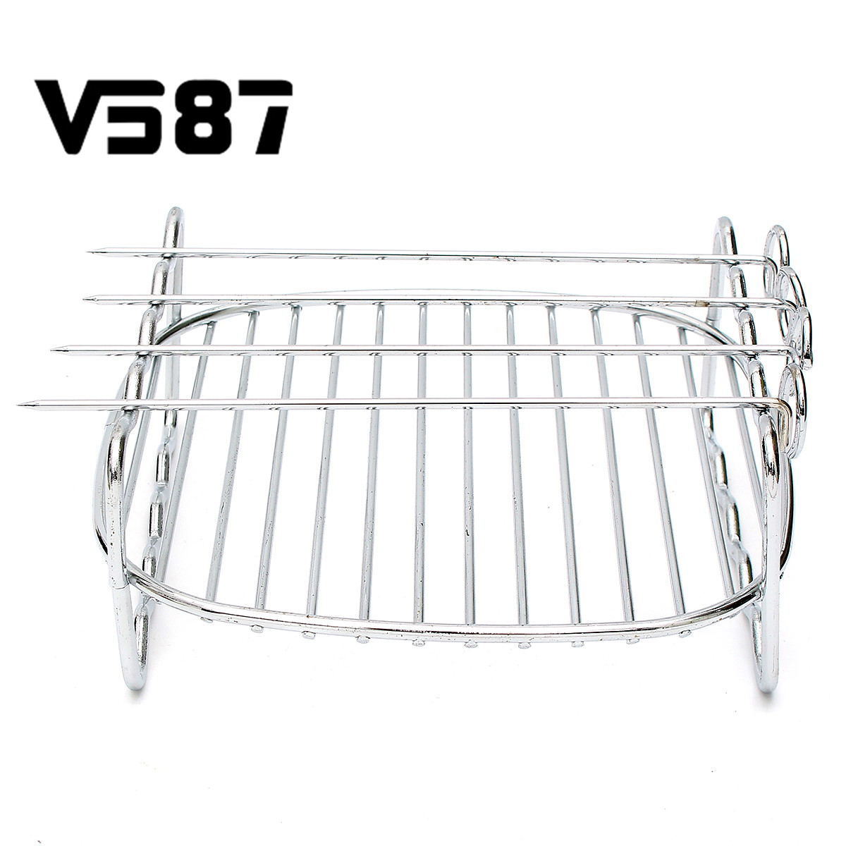 Barbecue Grilling Double Layer Skewers Baking Tray Stainless Steel Double Grill Bbq Tools Easy