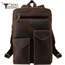 Для Мужчин's Винтаж натуральная кожа рюкзак сумки 2018 мужской путешествия Бизнес Повседневное кожа коровы Рюкзаки большой студент Back Pack сумка