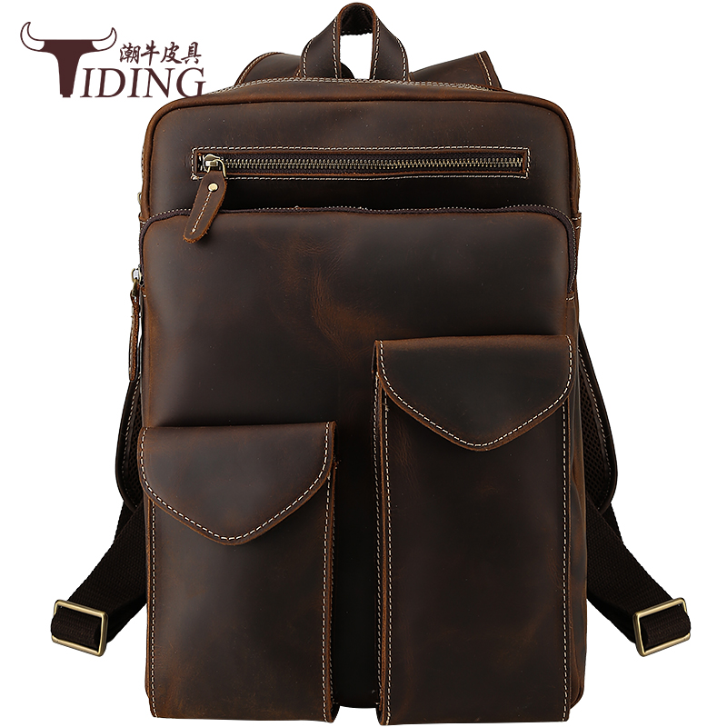 Men's Vintage Genuine Leather Backpack Bags 2018 Male Travel Business Casual Cow Leather Backpacks Large Student Back Pack Bag p kuone brand men genuine cow leather backpack large bagpack male business back pack travel rucksack school backpack bag black