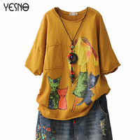 YESNO E78 New Cotton Harajuku Aesthetics t shirts Loose Tee Tops Cartoon Rolled Hem Ripped Short Sleeve Casual Couple T Shirt
