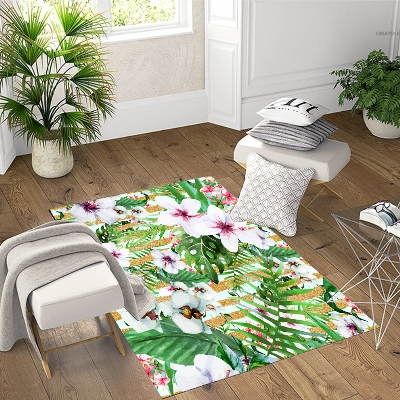 Else Tropical Green Leaves White Purple Flowers 3d Print Non Slip Microfiber Living Room Decorative Modern Washable Area Rug Mat