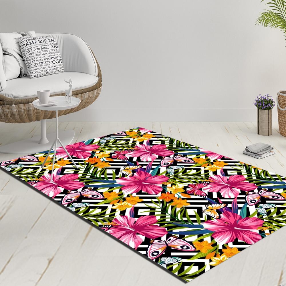 Else Black White Geometric Ikat Ogee Pink Yellow Flowers 3d Print Anti Slip Kilim Washable Decorative Kilim Rug Modern Carpet