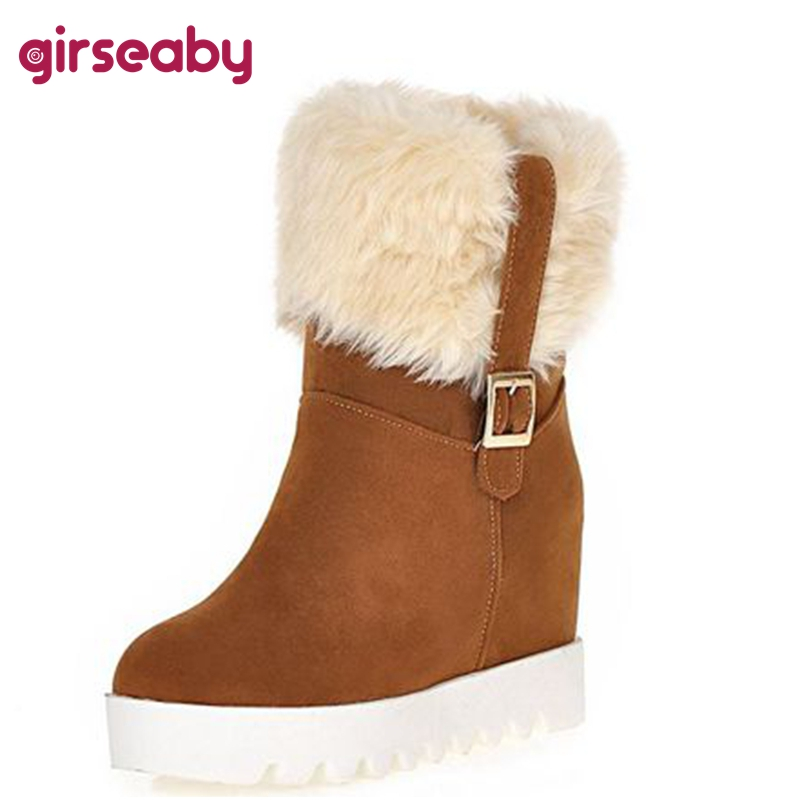 0cc4d46e8fc Detail Feedback Questions about Girseaby( Fur boots Hidden wedges Platform Snow  boots Snow shoes Woman winter shoes High heels Keep Warm Winter boots ...