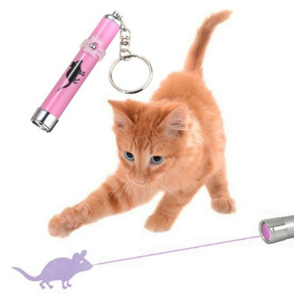 2017 Creative and Funny Pet Cat Toys LED Laser Pointer light Pen With Bright Animation Mouse Random Color PET0199