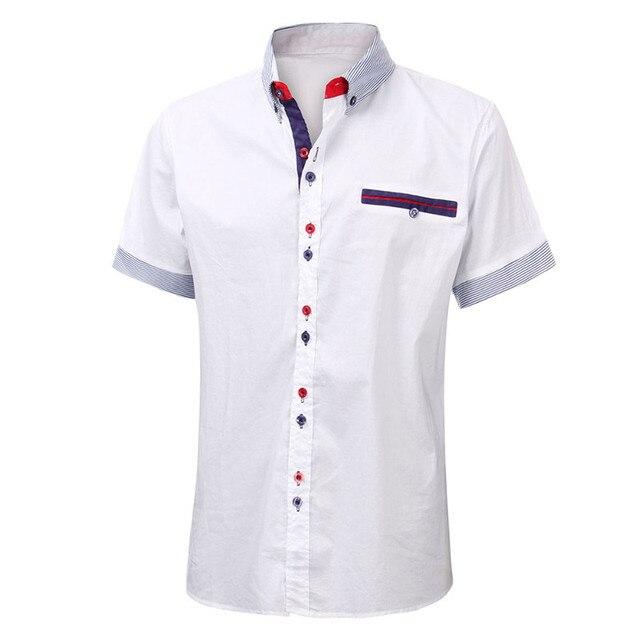 2018 новые летние с коротким рукавом Для мужчин хлопковые рубашки плотная рубашки мужской Повседневное модные Для мужчин s рубашки Slim Fit нагрудные шеи платье рубашка Для мужчин