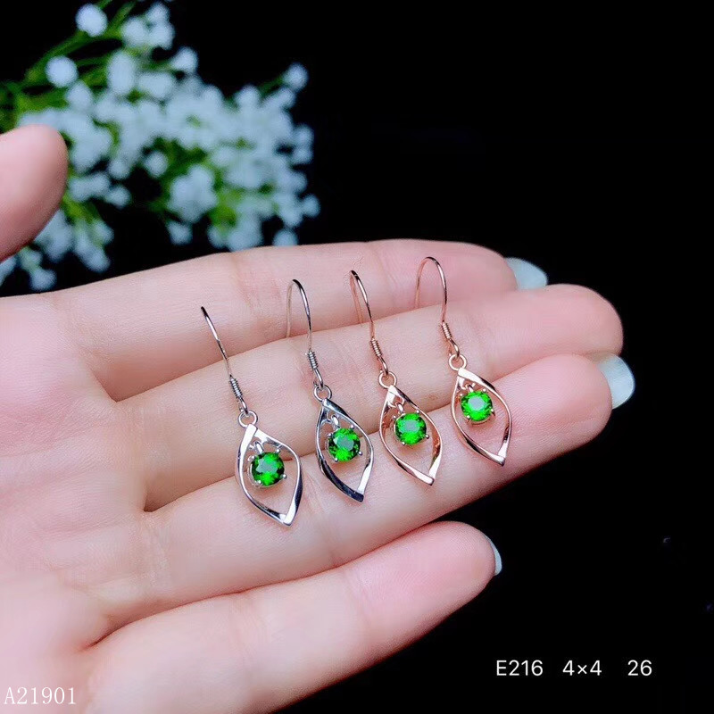 KJJEAXCMY Earrings Natural And Silver Diopside Supporting-Detection-Of-925-Silver-Inlaid